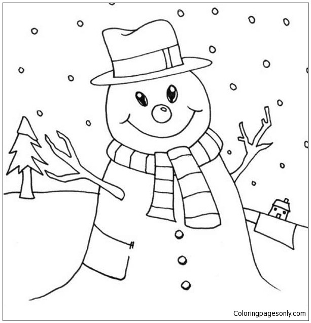 Mr Snowman On Christmas Touching A Snowflake Coloring Page: Mr Snowman On Christmas Love Snowy Rain Coloring Page