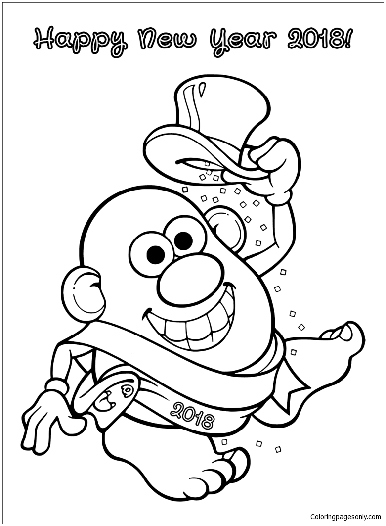 Mrs. Potato Head On New Year Coloring Page