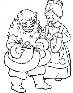 Mrs.santa Claus Helps Mr.claus To Prepare  Coloring Page
