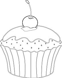 Muffin With Cherry Coloring Page