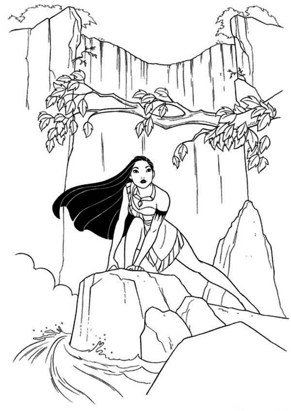 Mulan at the waterfall Coloring Page