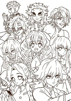 Multi Demon Slayer Coloring Page