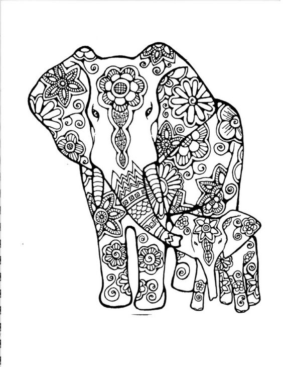 Mummy and Baby Elephant Coloring Page