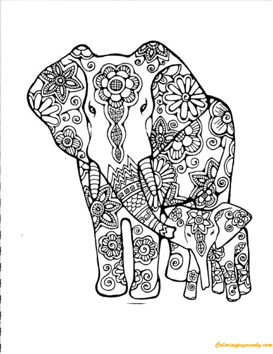 Mummy and Baby Elephant Coloring Page - Free Coloring Pages Online