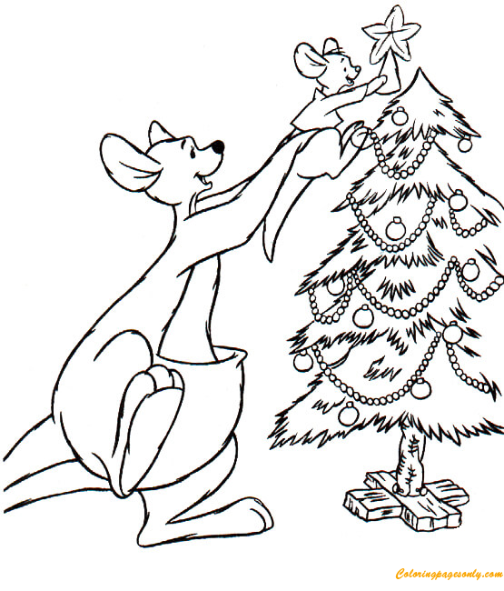 Mummy And Baby Kangaroo Decorating Christmas Tree Coloring Page