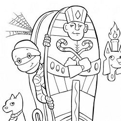 Mummy Halloween Coloring Page