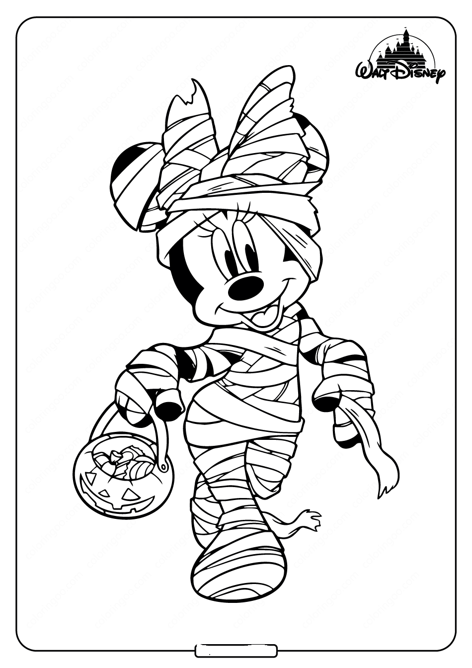 Mummy Minnie Mouse Coloring Page