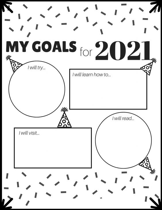 My Goals For 2021 Coloring Page