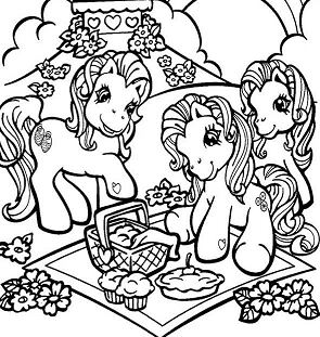My Little Pony Having A Picnic With Her Friends Coloring Page