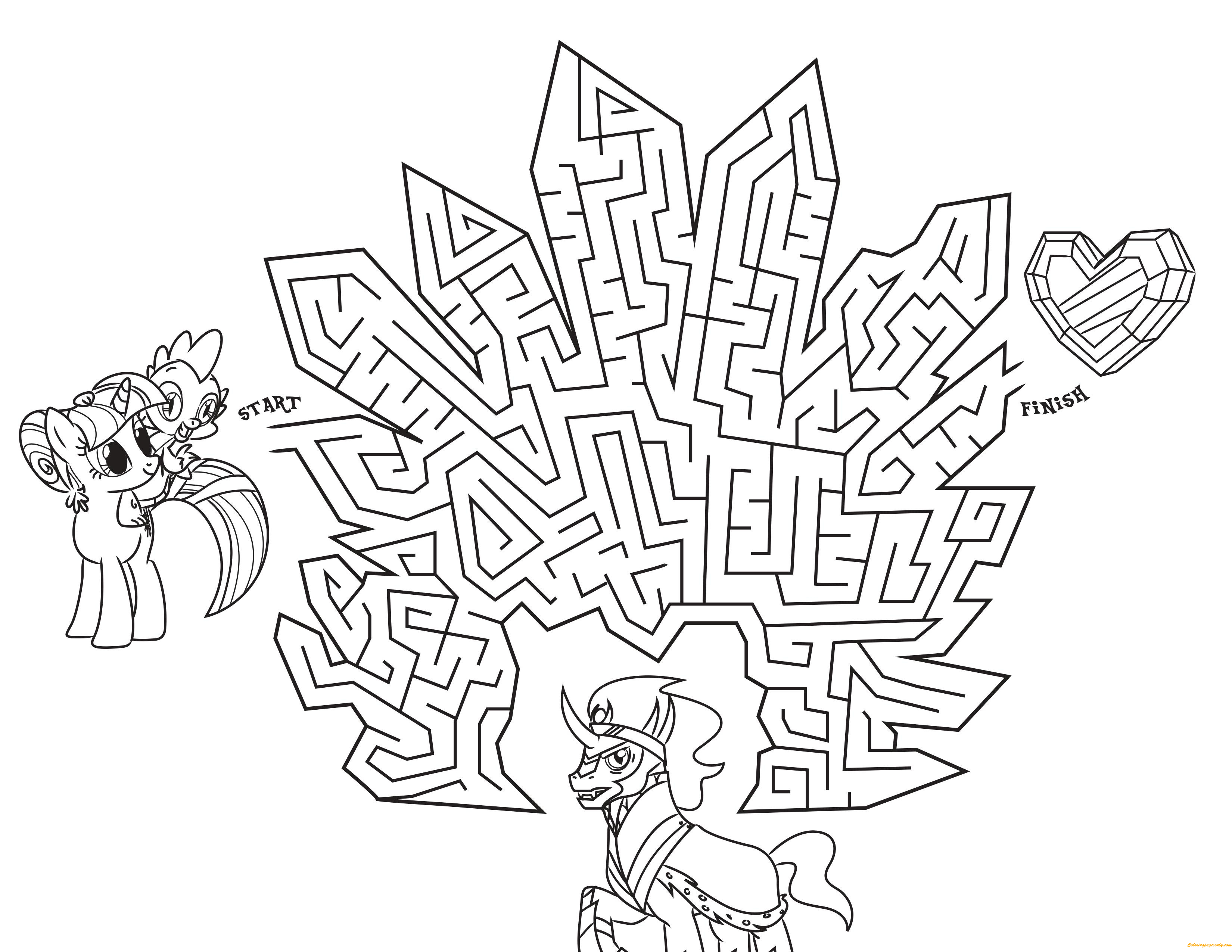 My Little Pony Coloring Pages Crystal Empire : My little pony in crystal empire maze coloring page free