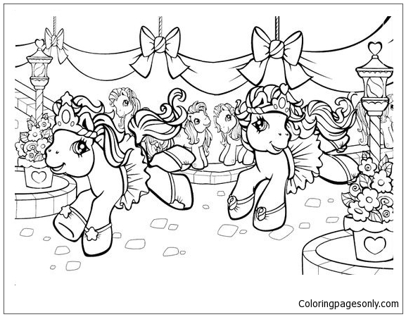My Little Pony In Partty Coloring Pages