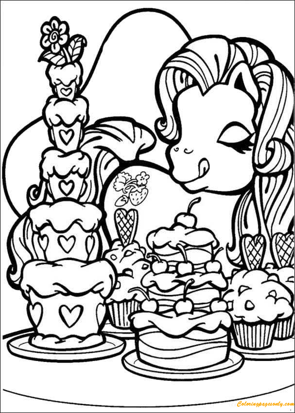 My Little Pony Loves Cakes Coloring Page