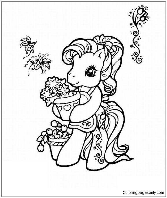 My Little Pony Loves Flowers Coloring Page
