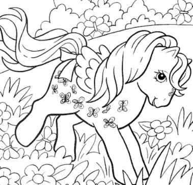 My Little Pony playing in the flower garden