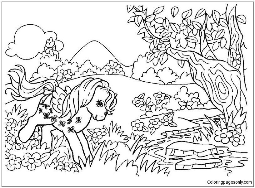My Little Pony Playing In The Forest Coloring Page