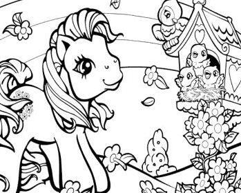 My Little Pony Playing With Bird Coloring Page