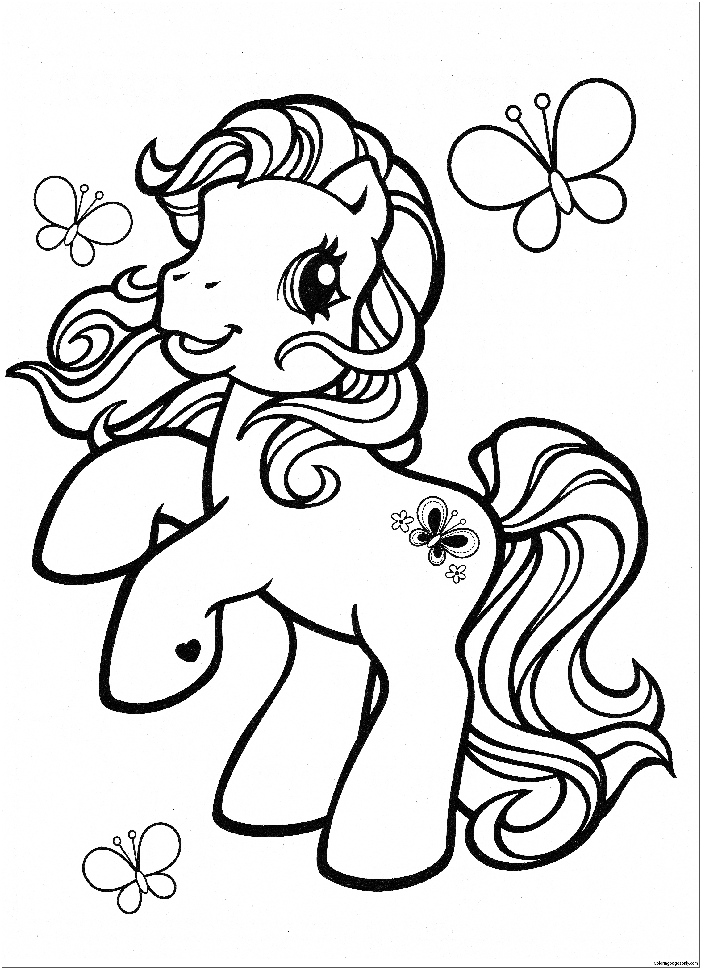 My Little Pony Playing With The Bees Coloring Page Free