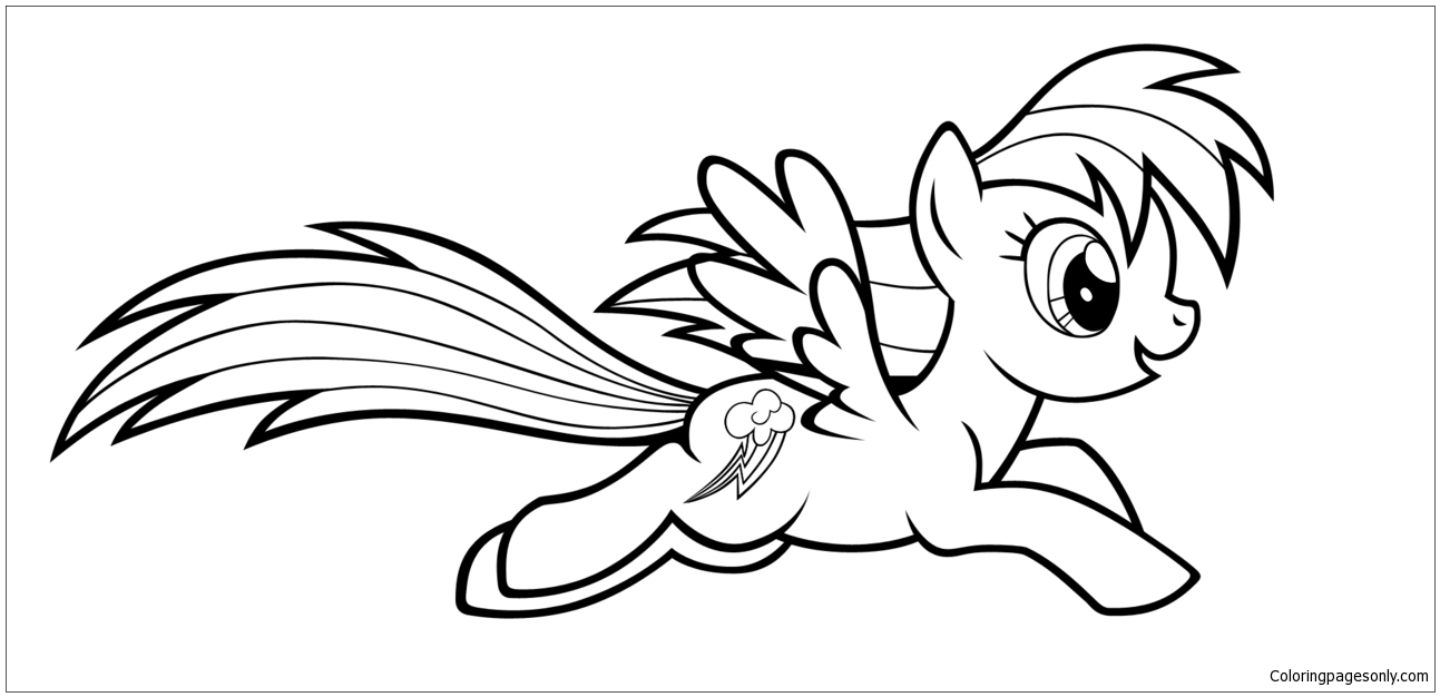 My little pony rainbow dash flying coloring pages