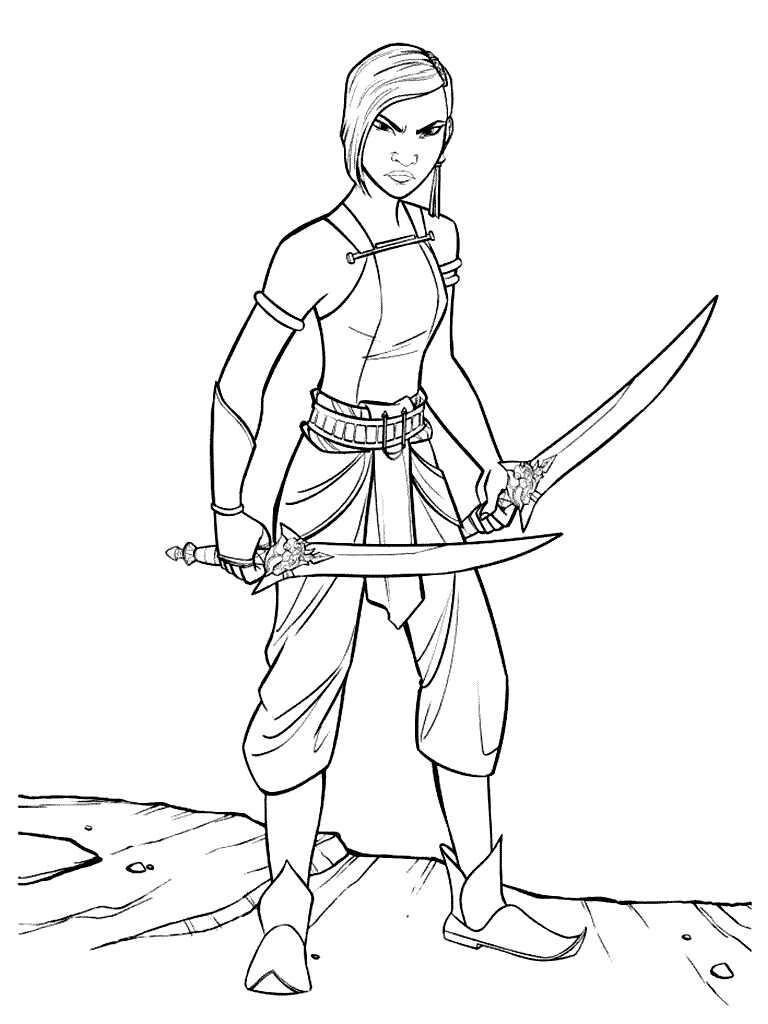 Namaari Princess from Raya and the Last Dragon holds her Scimitar Coloring Page