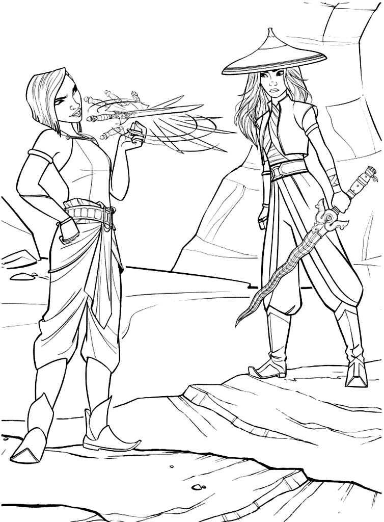 Namaari swings her Scimitar and Raya holds her sword Coloring Page