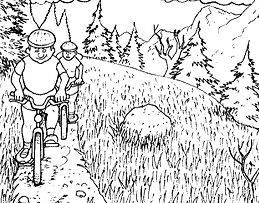 Nature Mountain Bike Coloring Page