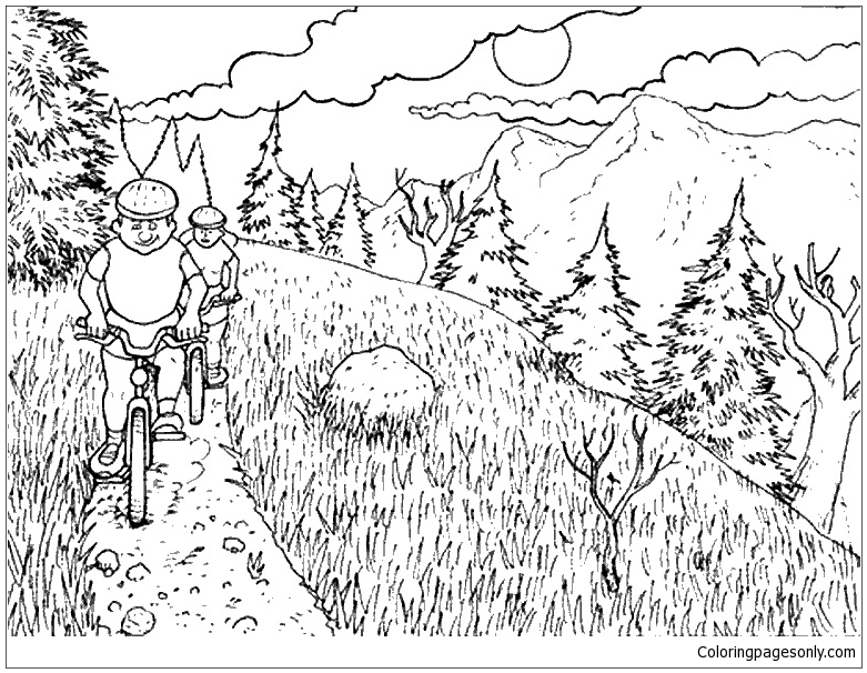 Nature Mountain Bike Coloring Page - Free Coloring Pages Online