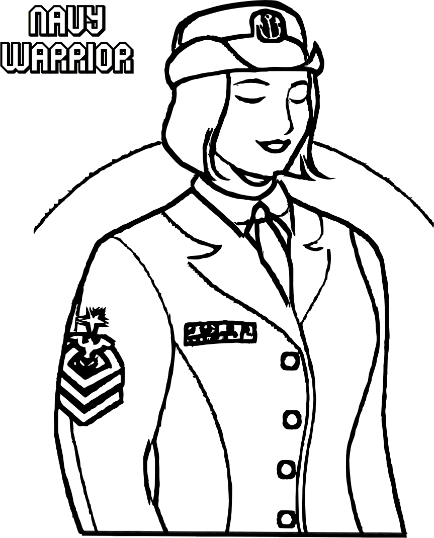 Navy Warrior Woman Coloring Page