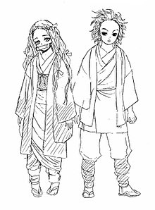 Nejuko and Tanjiro early sketch