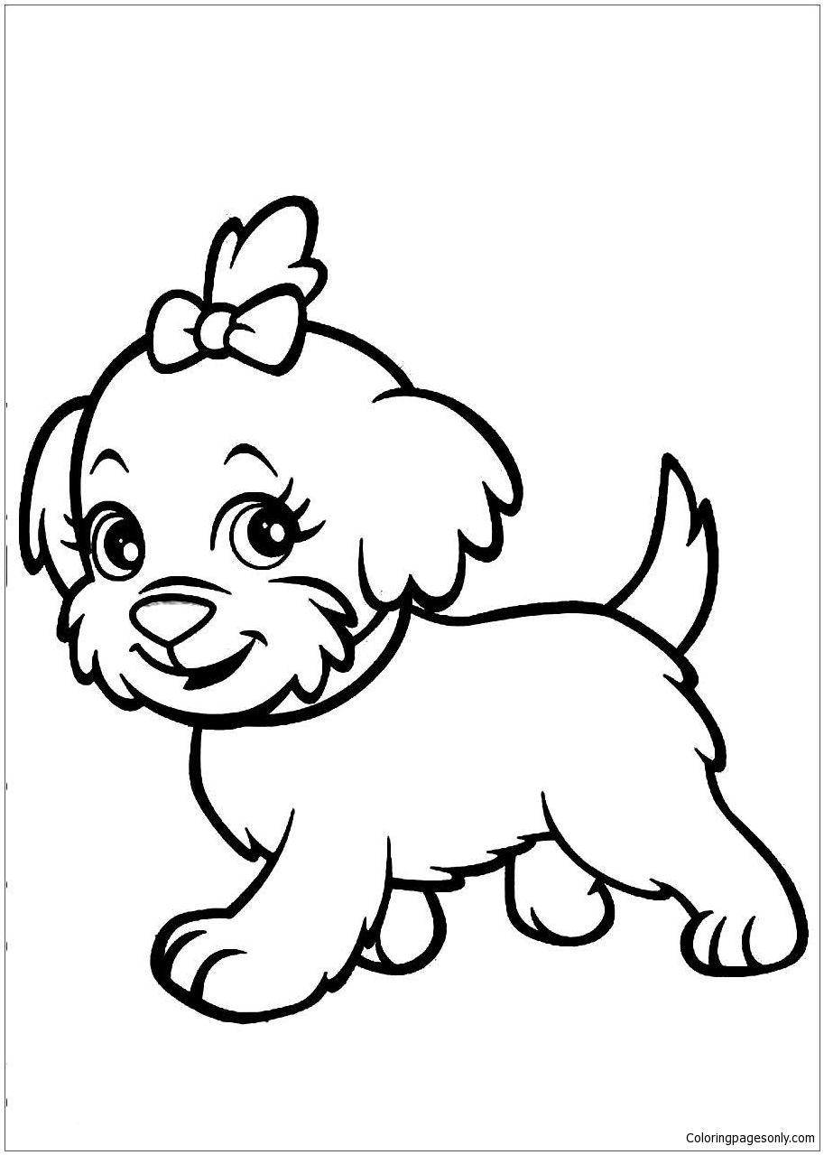 New Cute Puppy Coloring Page Free