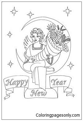 New Year Cornucopia Coloring Page
