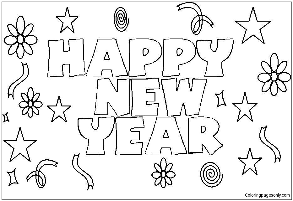 Happy New Year Text Coloring Page