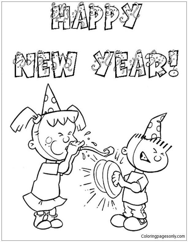 New Year Kids Party Coloring Page