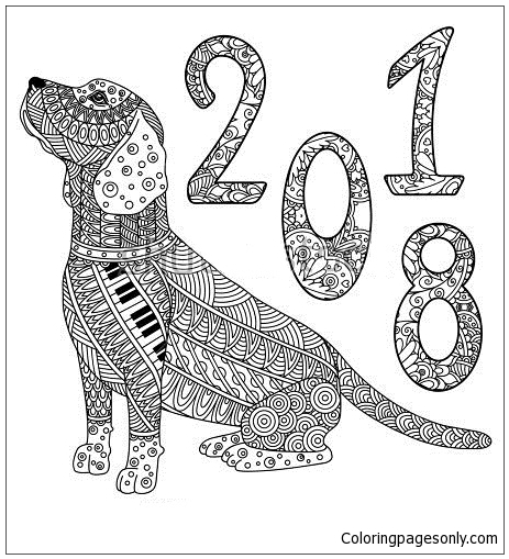 New Year Of The Dog Coloring Page