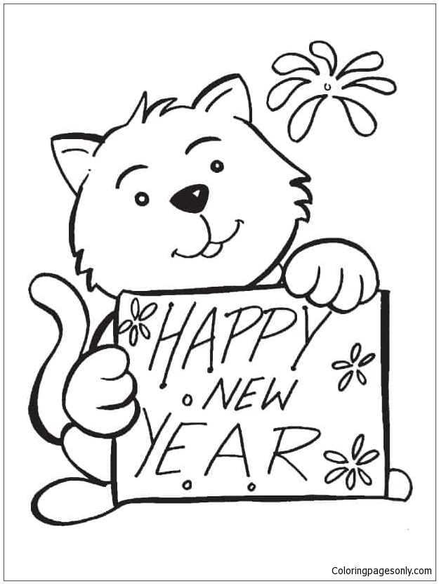New Year With Cute Bears Coloring Page