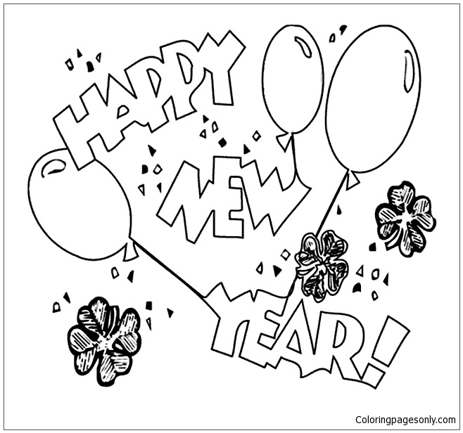 New Years Balloons  Coloring Page