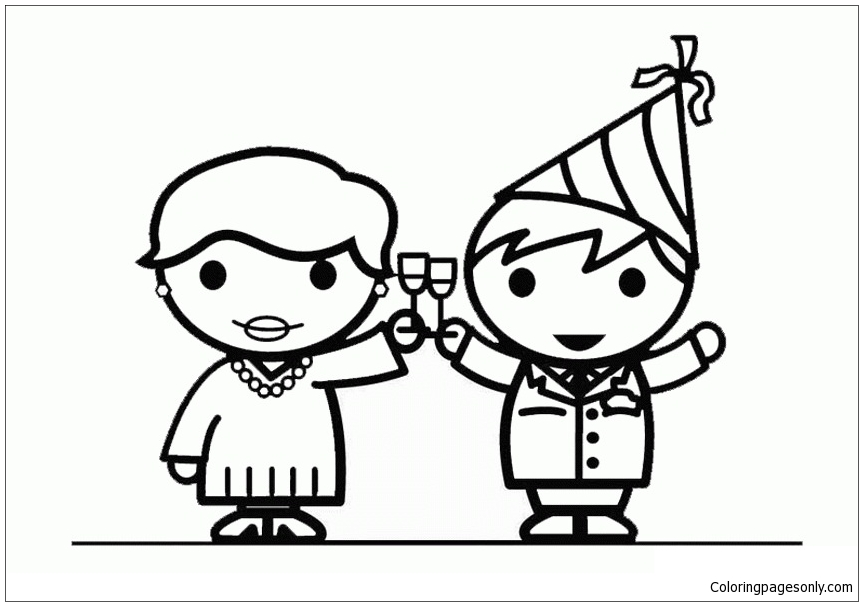 New Years Eve Kids Only Coloring Page