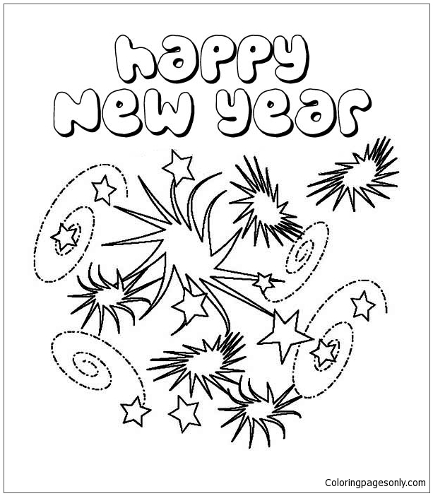 New Years Eve With Lots Of Firework Coloring Page