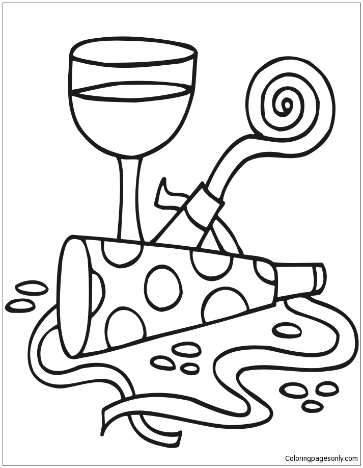 New Years Party Favors Coloring Page