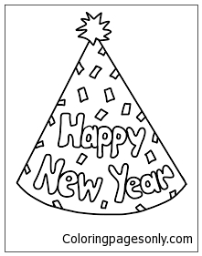 New Years Party Hat Coloring Page