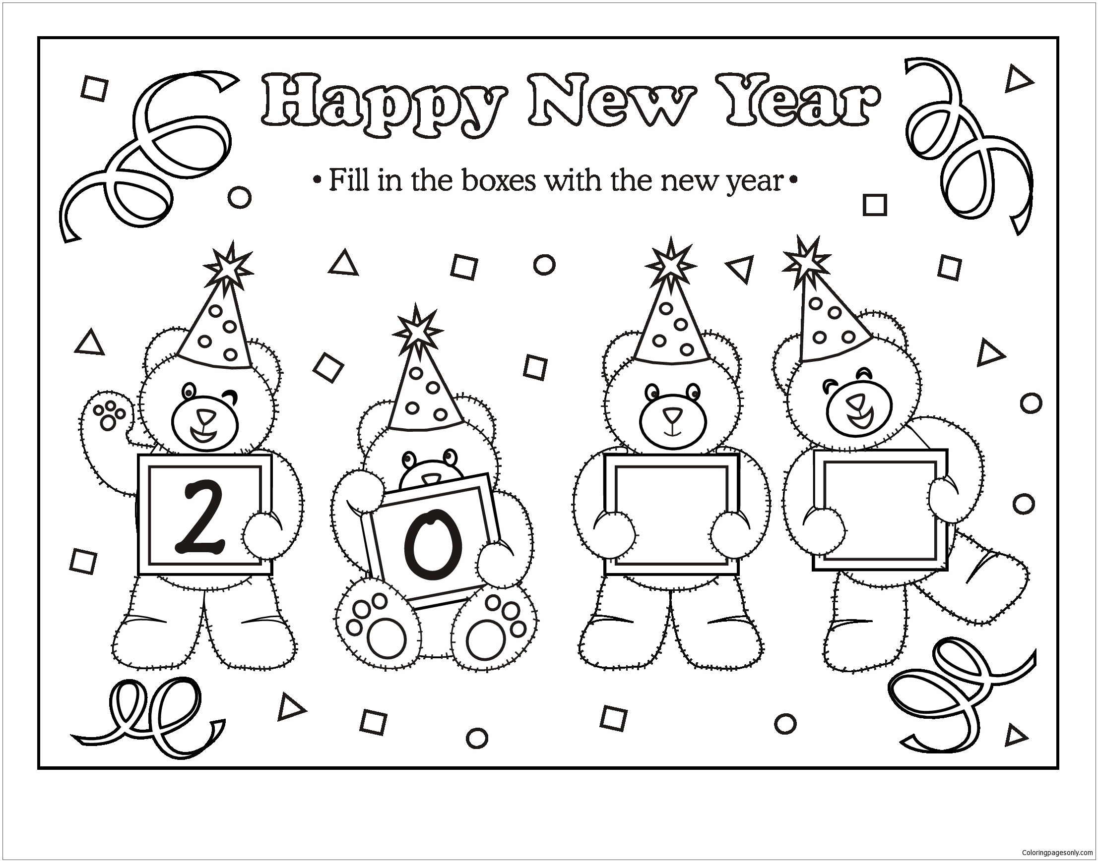 New Years Teddy Bear Coloring Page Free Coloring Pages line