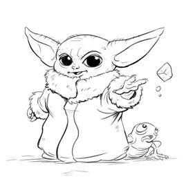 Nice Baby Yoda Coloring Page