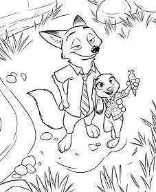 Nick and Judy Zootopia Coloring Page
