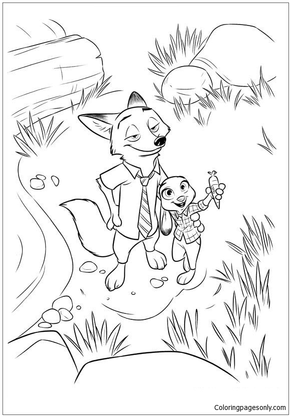 Judy Nick Zootopia Coloring Page