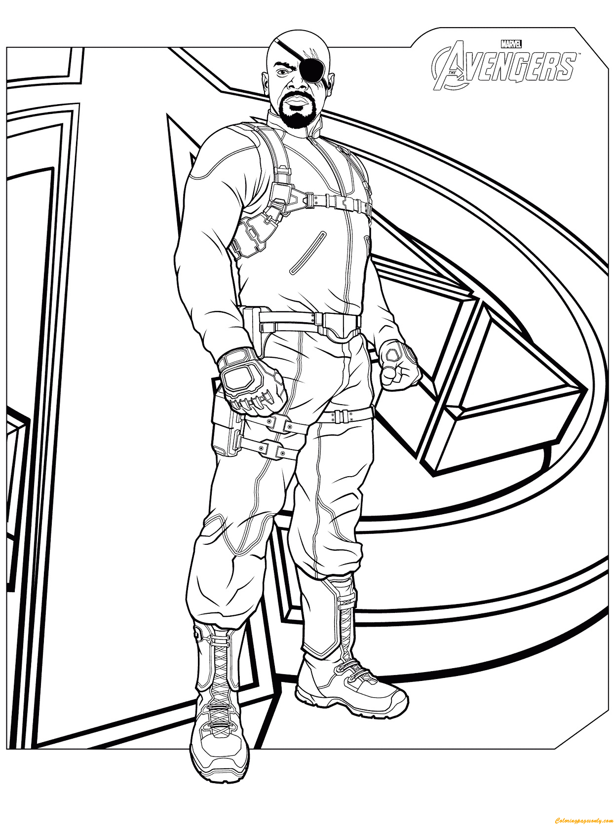 Download Avengers Coloring Pages Here Blackwidow: Nick Fury From Avengers Coloring Page