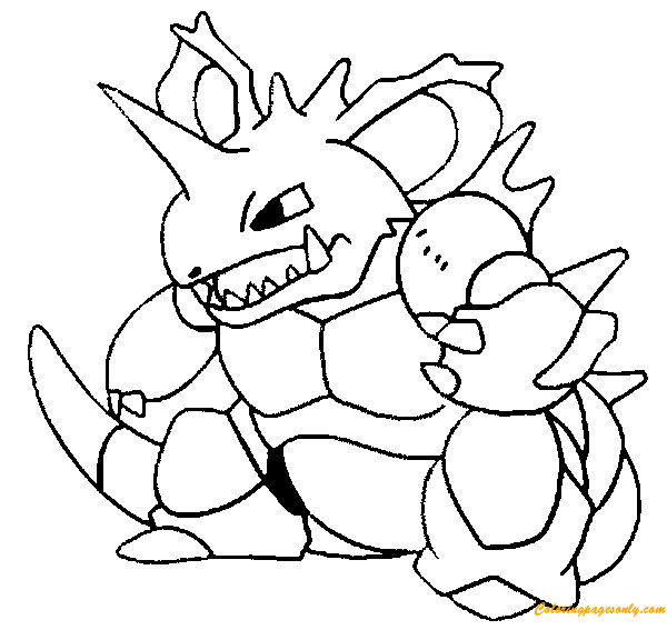 Nidoking Pokemon Coloring Page - Free Coloring Pages Online