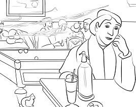 Night Cafe in Arles by Paul Gauguin Coloring Page