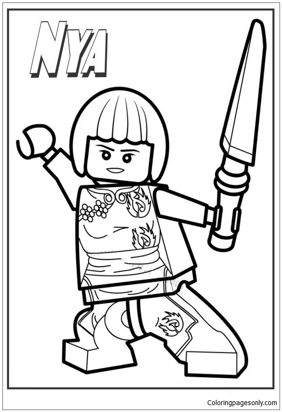 Ninjago Lego Nya Coloring Page Free Coloring Pages Online