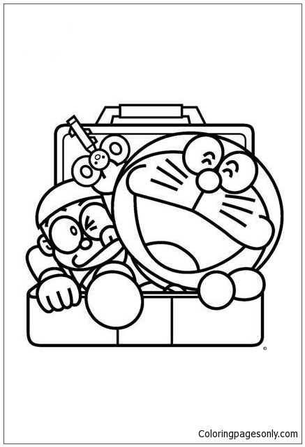 Nobita And Doraemon Comes Out From Locker Coloring Pages Doraemon Coloring Pages Free Printable Coloring Pages Online