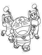 Nobita Shizuka and Doraemon Wearing Yukata Dance Together