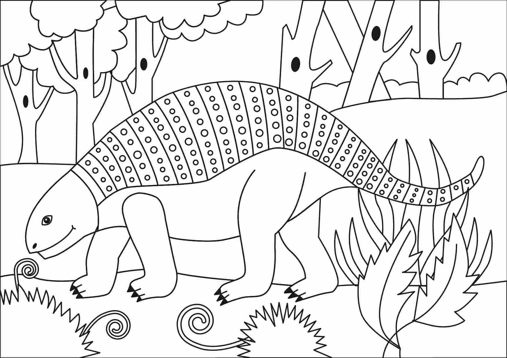 Nodosaurus which belongs Ankylosaurus Dinosaur type in the primary forest Coloring Page